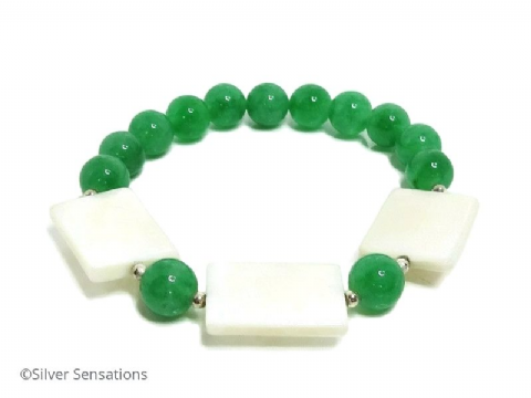 Emerald Green Jade, White Mother of Pearl Bracelet & Sterling Silver Accents
